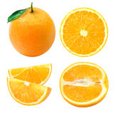 A set of oranges. Isolated oranges. Collection of whole and sliced orange fruits isolated on white background Stock Photo