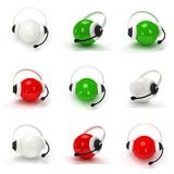 Set of orbs with headset isolated over white Stock Image