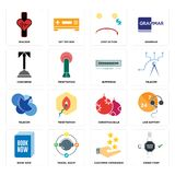 Set of order form, customer experience, book now, christmas bulb, telecom, buffering, concierge, cost uction, tracker icons. Set Of 16 simple  icons such as Stock Photography