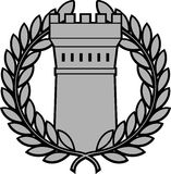 Set of ordersancient tower with laurel wreath Royalty Free Stock Photos