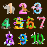 Set of ordinal numbers for teaching children counting with the ability to calculate amount animals abc alphabet Royalty Free Stock Photos