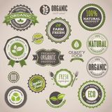 Set of organic badges and labels stock illustration