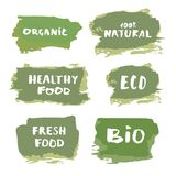 Set of Organic banners. Vector illustration. Set of Organic hand drawn banners. Handwritten lettering isolated on white background. Element for graphic design stock illustration