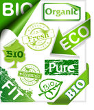 Set of organic and bio stickers, ribbons, stamps a Stock Photo