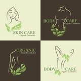 Set of 4 Organic Cosmetics Design elements with contoured women Stock Photo