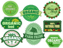 Set of organic and farm fresh food badges and labels Royalty Free Stock Photos