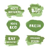 Set of Organic Food, Fresh, 100% Natural, Bio, !00% Eco banners. Vector illustration. Set of Organic Food, Fresh, 100% Natural, Bio, !00% Eco doodle banners royalty free illustration