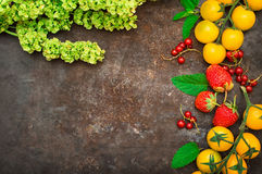 Set organic food. Fresh raw vegetables for salad. On a old black background. Top view. Close-up Royalty Free Stock Photos