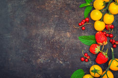 Set organic food. Fresh raw vegetables for salad. On a old blue background. Top view. Close-up Stock Photo