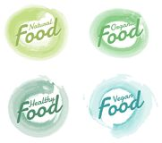 Set of Organic Food hand drawn Watercolor badges and Elements. Vector Illustrations for organicFood and Drink. stock illustration