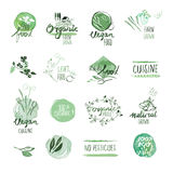 Set of organic food hand drawn watercolor labels and badges Stock Image
