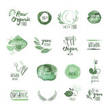 Set of organic food hand drawn watercolor stickers and elements. Vector illustrations for organic food and drink, restaurant and organic products Royalty Free Stock Photos