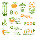 Set of organic food logo Royalty Free Stock Photos