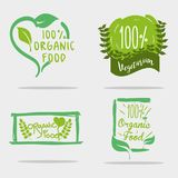 Set organic food message with natuals leaves. Vector illustration Royalty Free Stock Photography