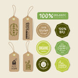 Set of organic food tag and label sticker design. Elements vector illustration