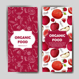Set of organic fruits cards. Hand drawn sketch elements. Banner collection template. Farm company. Vector illustration Royalty Free Stock Photography