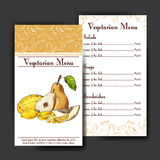 Set of organic fruits cards. Hand drawn sketch elements. Banner collection template. Farm company. Vector illustration Royalty Free Stock Photos