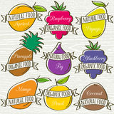 Set of organic  fruits, vector Stock Images