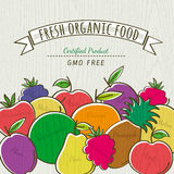 Set of organic fruits, vector Royalty Free Stock Photography
