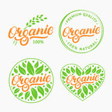 Set of Organic hand written lettering logo, label, badge, emblem with fresh bright green. Stock Photography