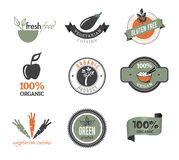Set of Organic Icons And Stamps. Collection Of Eco and Organic Stamps, Icons And Badges Stock Photo