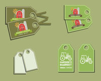 Set of organic labels - stickers for natural farm. Products. Ecology theme. Green eco design. Vector illustration stock illustration
