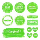 Set of organic labels and stickers. Set of vector labels and stickers for organic food and eco products Stock Photography
