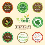Set of organic and natural badge tag label emblem sticker Stock Photos