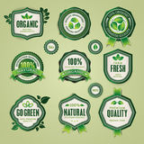 Set of organic and natural badges and labels Stock Photo