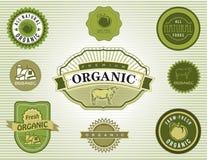 Organic and Natural Food Labels and Badges. Set of organic and natural food labels and badges stock illustration