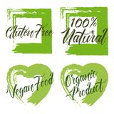 Set of organic product, gluten free,100 natural, vegan food. Green royalty free illustration