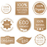 Set of 100% organic product sticker in earth tone Royalty Free Stock Images