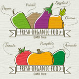 Set of organic vegetable and fruit, vector Royalty Free Stock Photo