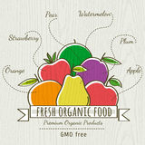 Set of organic vegetable and fruit, vector Stock Image