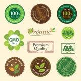 Set organicznie i naturalny odznaki etykietki etykietki emblemata majcher Fotografia Stock