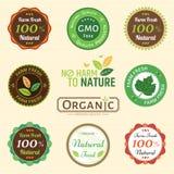 Set organicznie i naturalny odznaki etykietki etykietki emblemata majcher Zdjęcia Stock