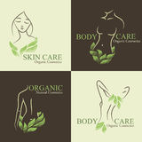Set 4 Organicznie kosmetyka Projektuje elementy z obrysowywać kobietami royalty ilustracja