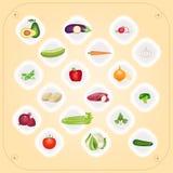 Set organicznie warzywa na talerzach, wektor Obrazy Royalty Free