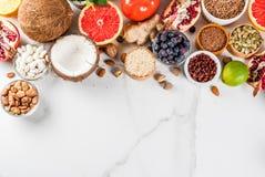 Set organicznie zdrowy jedzenie Zdjęcia Stock