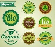 Set organische Abzeichen und Kennsätze Lizenzfreies Stockfoto