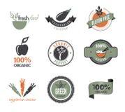 Set organische Ikonen und Stempel Stockfoto