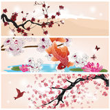 Set of oriental banners vector illustration