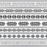 Set Of Oriental Borders. Borders with ornamental elements in asian style. Set 1. Black on white. For divider or frame Stock Photo