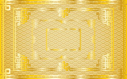 Set of oriental chinese golden rectangle frames on pattern gold. Set of traditional oriental chinese golden rectangle frames on pattern golden background for stock illustration