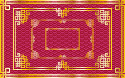 Set of oriental chinese golden rectangle frames on pattern red. Set of traditional oriental chinese golden rectangle frames on pattern red background for royalty free illustration