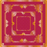 Set of oriental chinese golden square frames on pattern red back. Set of traditional oriental chinese golden square frames on pattern red background for Stock Images