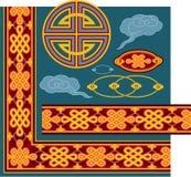 Set of Oriental Design Elements. And Seamless Border stock illustration