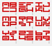 Set of Oriental fonts and numbers in east style. Capital letters. Stock Images