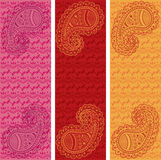 Set of oriental henna pattern paisley vertical banners Royalty Free Stock Photo