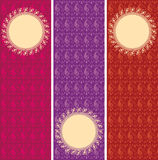 Set of oriental paisley henna pattern vertical banners Stock Photo